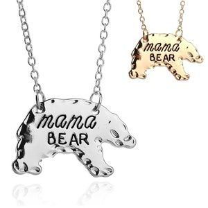 Mama Bear Necklace, Available in Gold or Silver